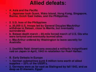 Allied defeats: