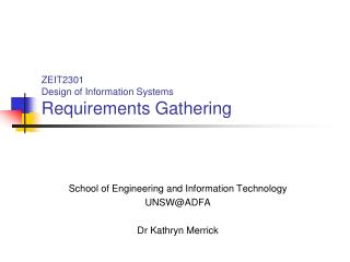 ZEIT2301 Design of Information Systems Requirements Gathering