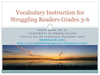 Vocabulary Instruction for Struggling Readers Grades 3-6