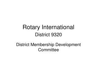 Rotary International  District 9320