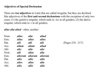 Adjectives of Special Declension