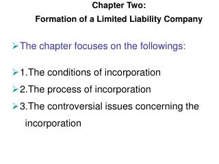 Chapter Two:  Formation of a Limited Liability Company