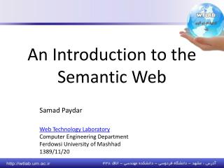 An Introduction to the Semantic Web