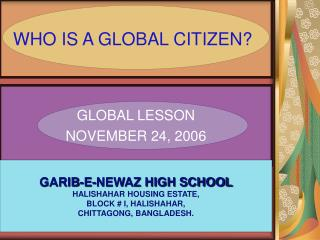 WHO IS A GLOBAL CITIZEN?