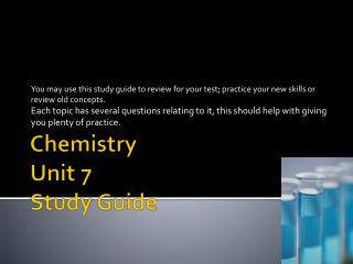 Chemistry Unit 7 Study Guide