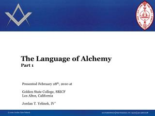 The Language of Alchemy Part 1