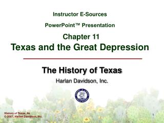 Instructor E-Sources PowerPoint™ Presentation Chapter 11 Texas and the Great Depression