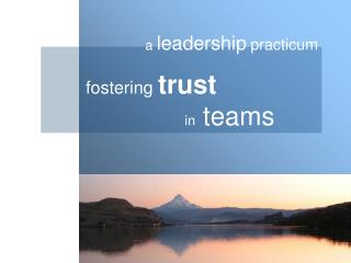 fostering  trust             		in   teams