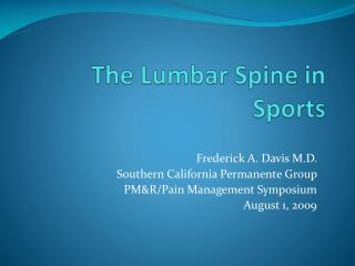 The Lumbar Spine in Sports