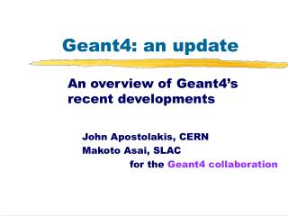 Geant4: an update