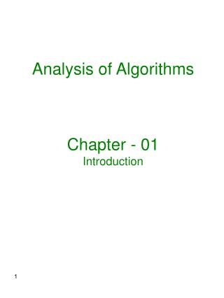 Analysis of Algorithms Chapter - 01 Introduction