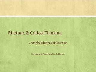 Rhetoric & Critical Thinking