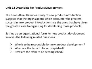 Unit-12 Organizing For Product Development