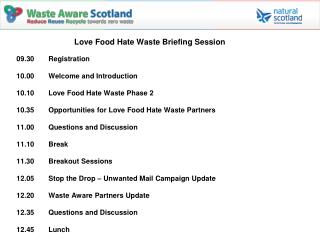 Love Food Hate Waste Briefing Session