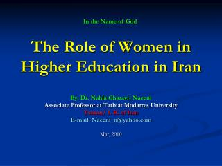 The Role of Women in Higher Education in Iran