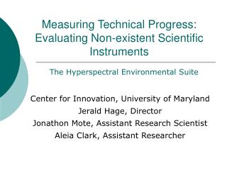 Measuring Technical Progress: Evaluating Non-existent Scientific Instruments