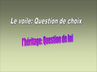 Le voile: Question de choix