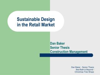 Sustainable Design  in the Retail Market