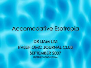 Accomodative Esotropia