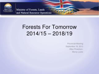 Forests For Tomorrow 2014/15 – 2018/19