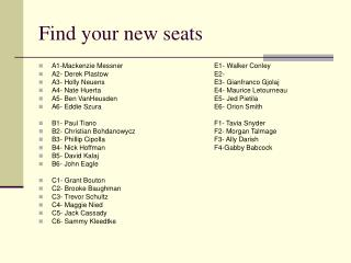 Find your new seats