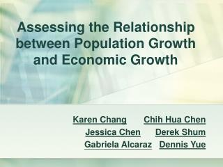 Assessing the Relationship between Population Growth and Economic Growth