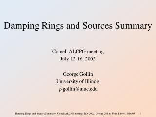 Damping Rings and Sources Summary