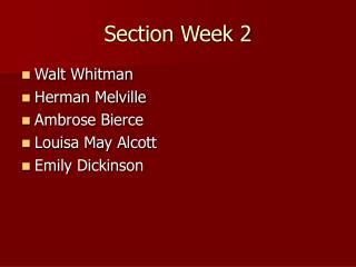 Section Week 2