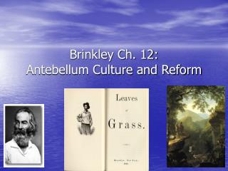 Brinkley Ch. 12: Antebellum Culture and Reform