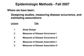 Epidemiologic Methods - Fall 2007