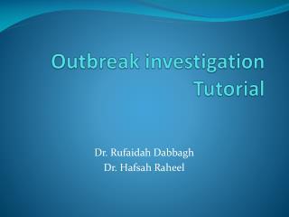 Outbreak investigation Tutorial