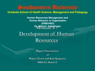 Module 6 : Development of Human Resources