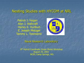 Nesting Studies with HYCOM at NRL