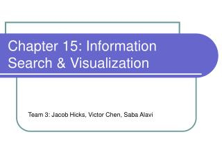 Chapter 15: Information Search & Visualization