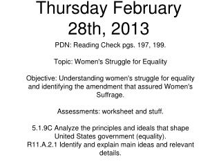 Thursday February 28th, 2013