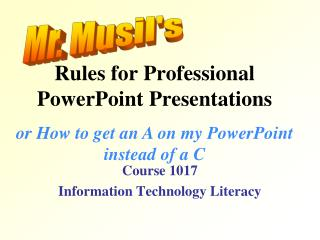 Rules for Professional PowerPoint Presentations