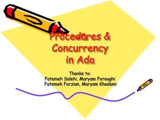 Procedures & Concurrency in Ada