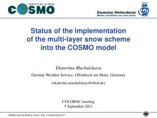 Status of the implementation  of the multi-layer snow scheme  into the COSMO model