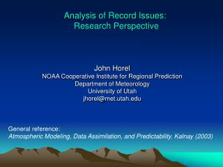 Analysis of Record Issues:  Research Perspective