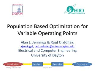 Population Based Optimization for Variable Operating Points