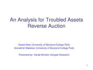 An Analysis for Troubled Assets Reverse Auction