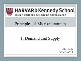 Principles of Microeconomics 1. Demand and Supply
