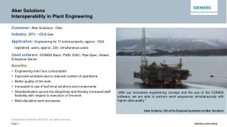 Aker Solutions Interoperability in Plant Engineering