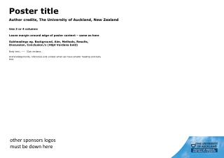 Poster title Author credits, The University of Auckland, New Zealand