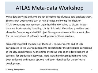 ATLAS Meta-data Workshop