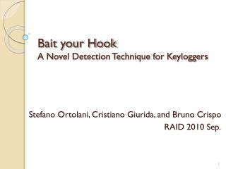 Bait your Hook A Novel Detection Technique for Keyloggers