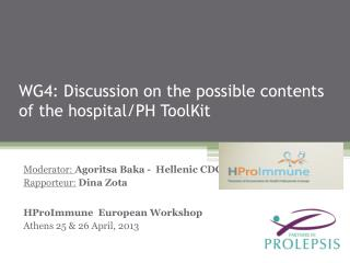 WG4: Discussion on the possible contents of the hospital/PH ToolKit