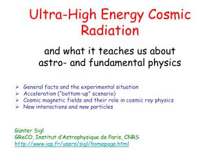 Ultra-High Energy Cosmic Radiation