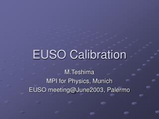 EUSO Calibration