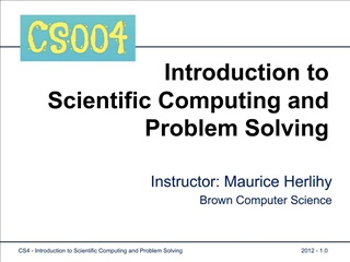 Introduction to Scientific Computing and Problem Solving